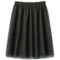 【SALE】レオパード柄チュールギャザースカート【3,000円以上送料無料】