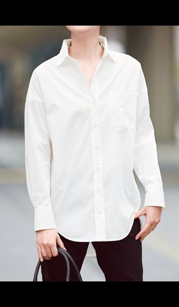 <DHC>コスメリリース・オーバーシャツ 形態安定 オフホワイト画像