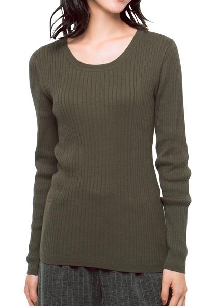 着やせニット・クルーネック 綿100% 杢グレー