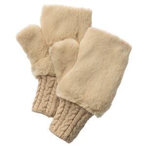 指先フリー・フェイクファー手袋