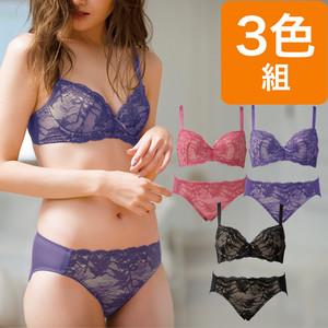 レーシーノンワイヤーブラ&ペアショーツ3色組(リーフ柄)
